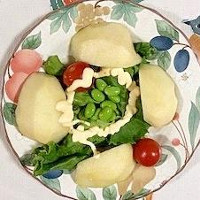 リーフレタス 、ラ・フランス、ミニトマトのサラダ