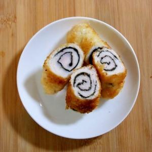 お弁当のおかず☆簡単 ささみのうずまきフライ♪