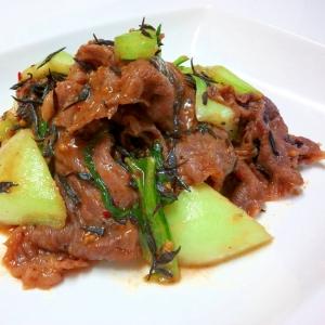 ひじきとチンゲン菜の味付き肉炒め