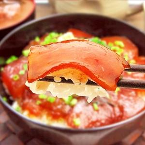 解凍して盛り付けるだけでモチモチ食感マグロ漬け丼!