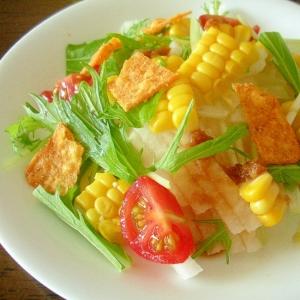 ☆大根と水菜とコーンのスパイシードリトスサラダ☆