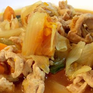 カボチャと豚肉の煮物♫