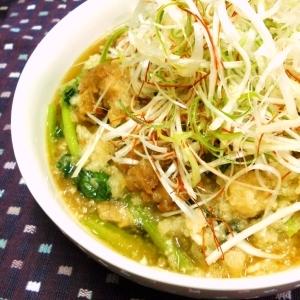 たっぷり白髪ねぎの小松菜と鶏唐揚げのみぞれ煮