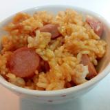 卵黄と魚肉ソーセージとカリフラワーの混ぜご飯