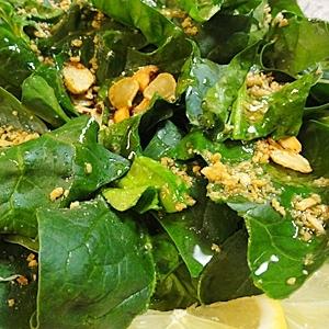 ホウレン草のガーリックサラダ