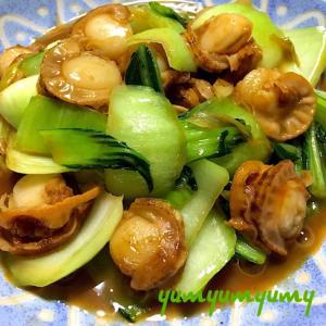 ベビーホタテと青梗菜の中華炒めです☆食べ応え満点♪