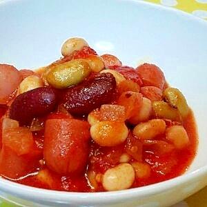 ミックスビーンズ&ウインナーのトマト煮