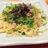 豚肉と豆菜(豆苗)の簡単和風パスタ