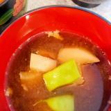 モロッコインゲンとかぶの味噌汁