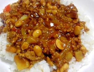 大豆と挽肉のキーマカレー風