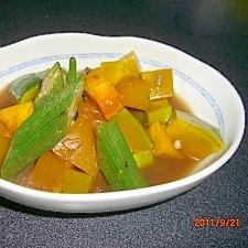 レンジで簡単かぼちゃとオクラの煮物