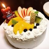 デコレーションケーキ(りんご、メロン、桃)