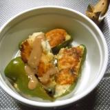 生姜香る ピーマンの肉詰め 豆腐たっぷりで。
