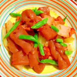 鶏もも肉と生芋蒟蒻の簡単オイスター&ビネガー炒め