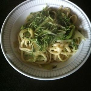 水菜で焼きうどん