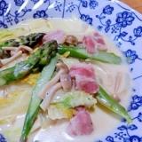 アスパラと白菜のクリーム煮