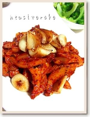 コチュジャンと韓国一味入りの豚トロ炒め