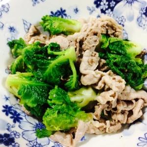 【ガサツ料理】プチヴェールと豚肉のガーリック炒め