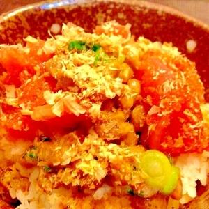 ネギ納豆と辛子明太子のぶっかけご飯☆