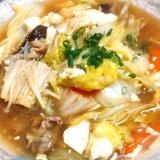白菜など冬野菜と豆腐の中華煮込み