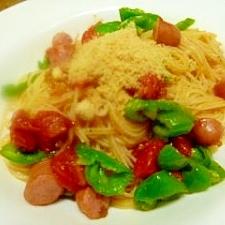 ピーマンとトマトとソーセージのスパゲッッティ