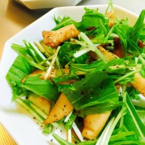 パリパリ水菜とこってりエリンギのバター醤油サラダ