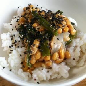 葉付き新玉ねぎと納豆のご飯