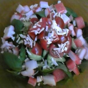 さっぱり☆バジルきゅうりトマトカニかまのサラダ