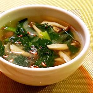 ほうれん草としめじの中華風スープ