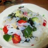トマト胡瓜蒟蒻サラダポン酢味