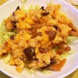 キャベツの天かす・炒り卵のせ