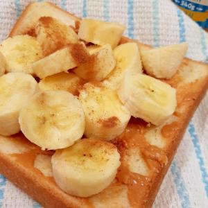 USA仕様!バナナとピーナッツバターのトースト♪