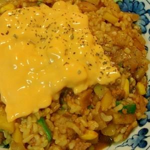 ポテトとオクラのカレー玄米リゾット フライパンで