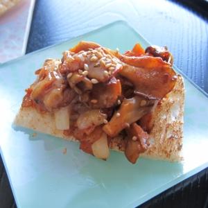 チーズでとろりん~キムチベーコンのパンのせ
