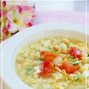 大豆入り卵スープ