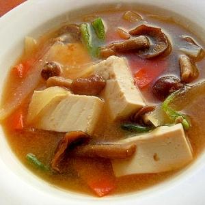 ヘルシー❤なめこ&豆腐で味噌スープ♪