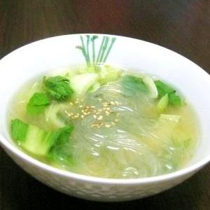 あっという間にあと一品♪青梗菜と春雨のスープ