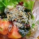 海藻とちりめんのサラダ