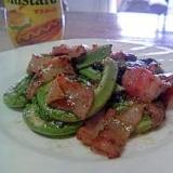 山菜こごみとベーコンのマヨネーズ炒め
