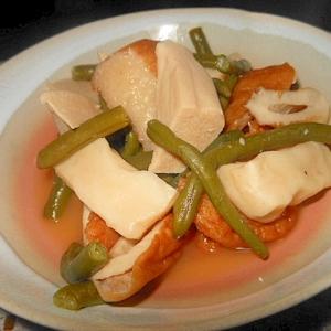 練物と高野豆腐、インゲンの煮物