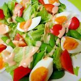 スナップエンドウとゆで卵レタスのサラダ