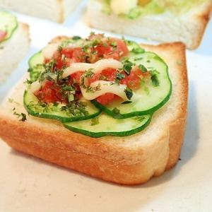 胡瓜と明太子のミニトースト