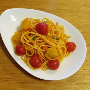 ピンキーときら~ずとミックスベジタブルのスパゲティ