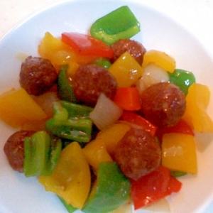 肉だんごと野菜の黒酢炒め