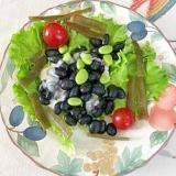 蒸し黒豆に、枝豆、茎わかめ、ミニトマトのサラダ