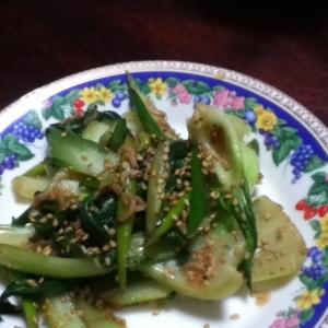 チンゲン菜とにんにくの芽とアミ海老の炒め物