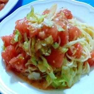 トマトとレタスのサラダスパゲッティ