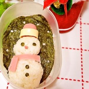 クリスマスに☆おにぎりで作る雪だるまデコ弁