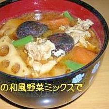 冷凍の和風野菜で豚汁