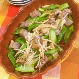 簡単レンチンレシピ★アスパラと牛肉の香味醤油炒め